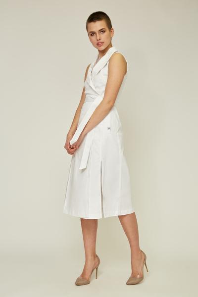Біле плаття на запах з поясом — 30023P