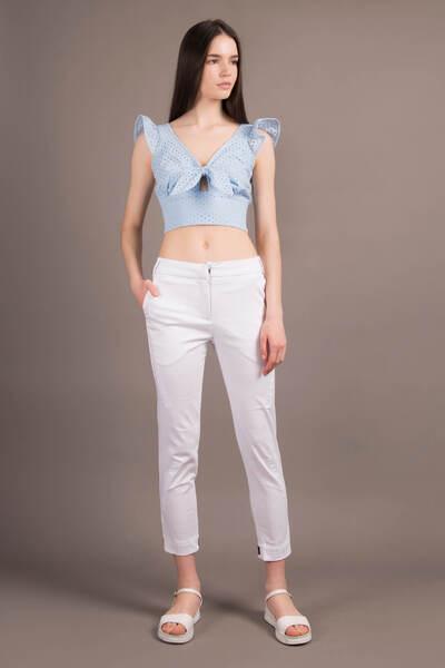 Білі укорочені брюки — 30057P