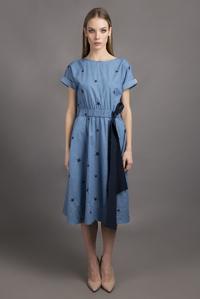Плаття джинс з бантом на талії — 30092P