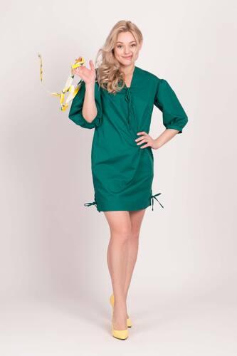 Зелене міні-плаття з рукавами-ліхтариками — 30093P