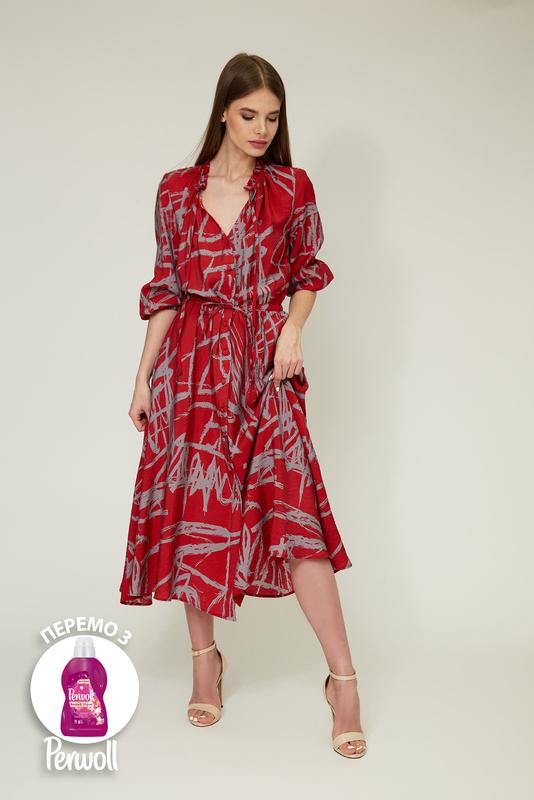 Червона сукня-сорочка міді з віскози — 32036