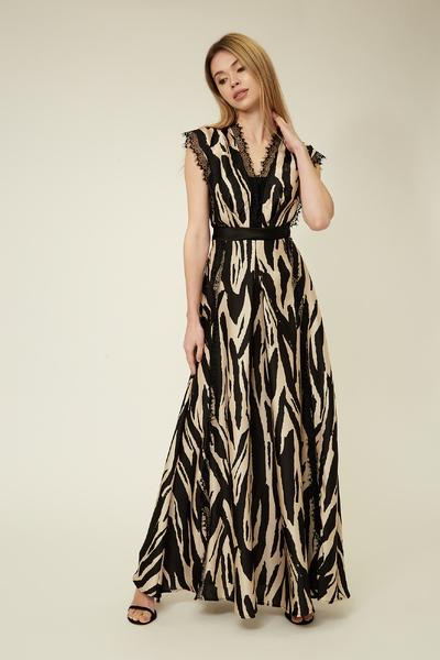 Бежева сукня в підлогу з мереживними стрічками — 32037