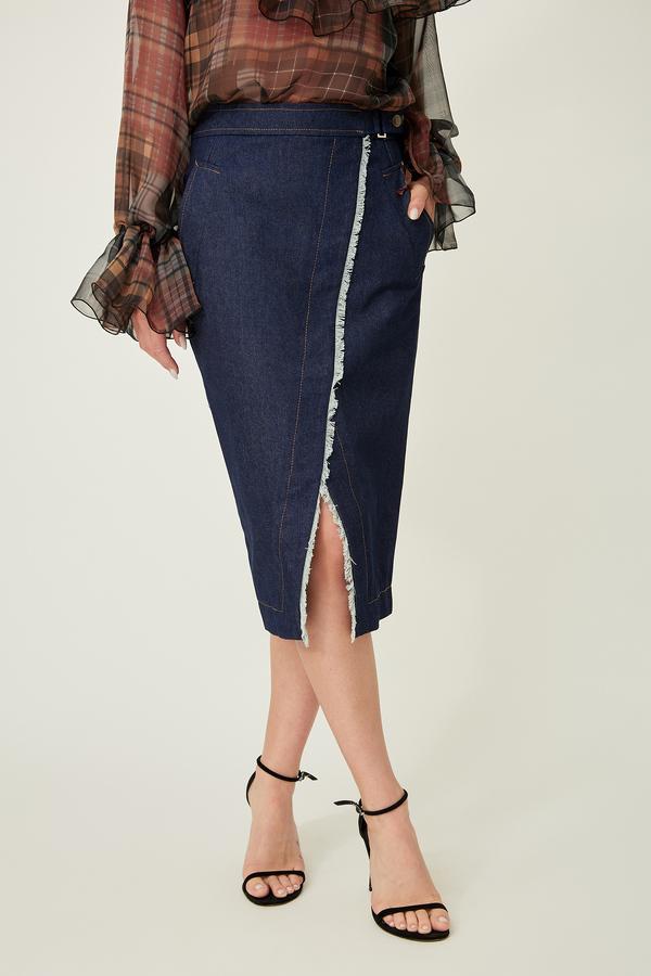 Вузька джинсова спідниця — 33002