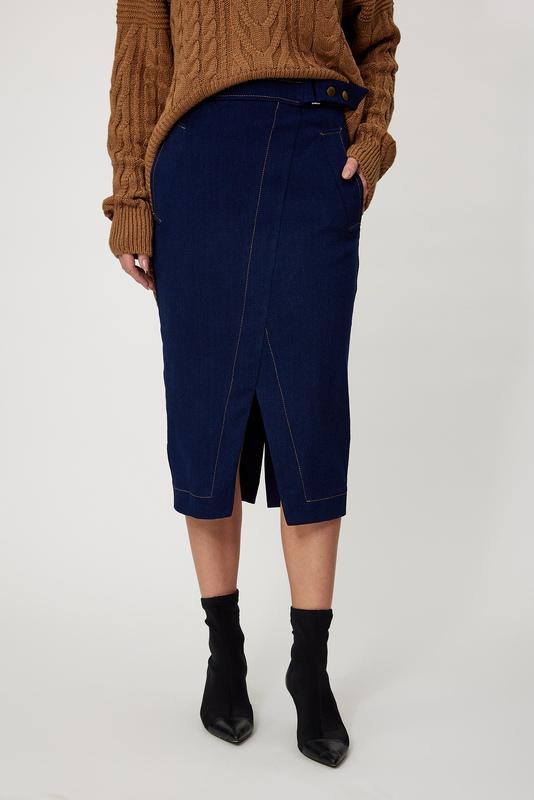 Вузька джинсова спідниця темно-синя — 33002