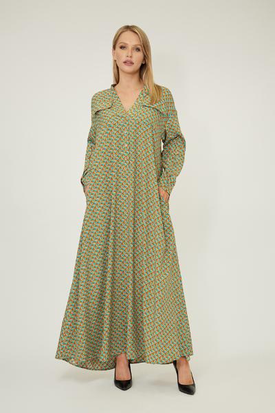 Зелена сукня оверсайз з абстрактним принтом — 33008