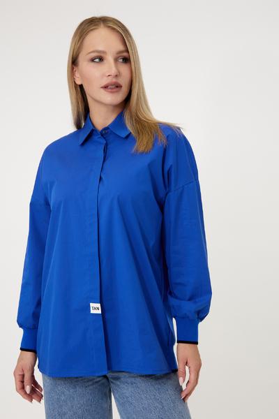 Синя сорочка з манжетами на гумці — 33049