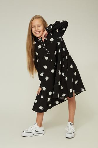 Дитяче чорне плаття в білий горошок — K60004