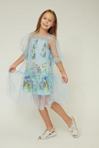 Небесно-блакитна сукня на дівчинку — K60005