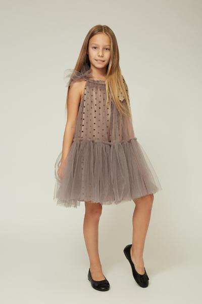 Світло-коричневе дитяче плаття з фатіном — K60007