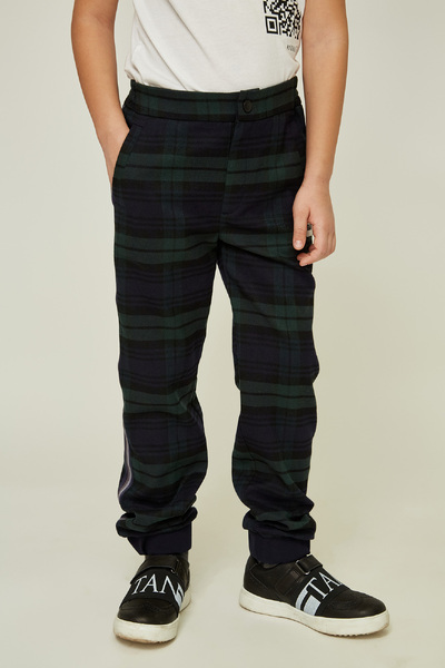 Зелені дитячі брюки в клітку — K60009
