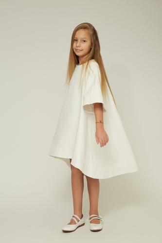 Дитяче біле плаття з екошкіри — K60017