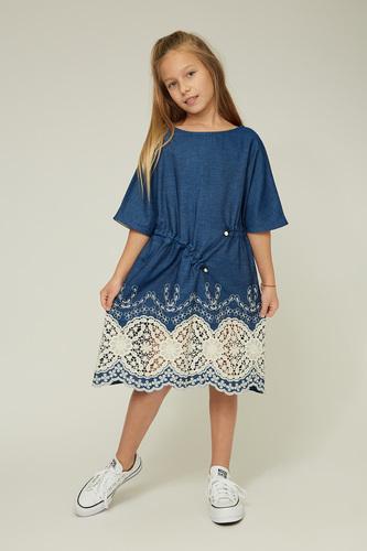 Дитяче джинсове плаття з ажурними вставками — K60031