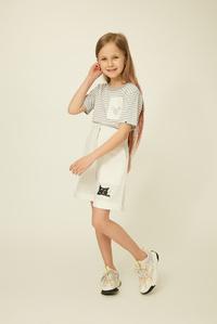 Дитяча футболка сіро-біла — K60040