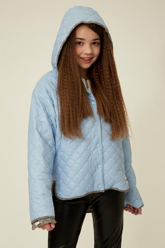 Голубая куртка с капюшоном на девочку — K60057