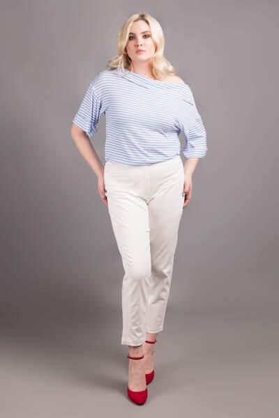 Жіночі білі укорочені брюки — P30014P
